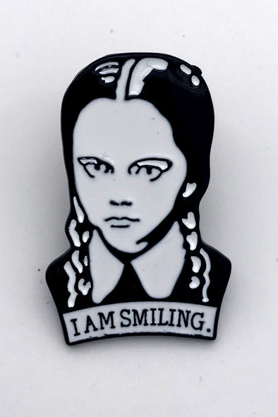 Wednesday Addams I Am Smiling Pin