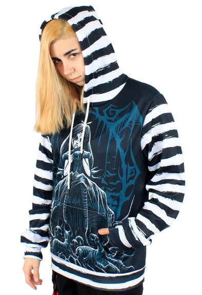 Dark Alice in Emoland Striped Hoodie