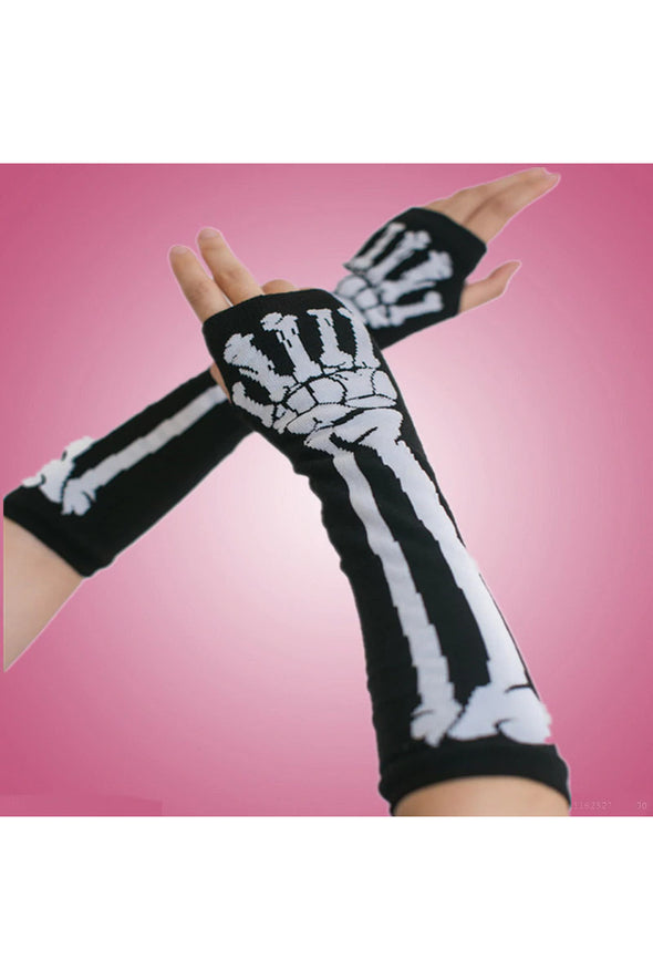 mens skeleton arm warmers