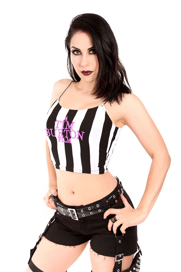Striped Tim Burton Film Camisole Crop Top