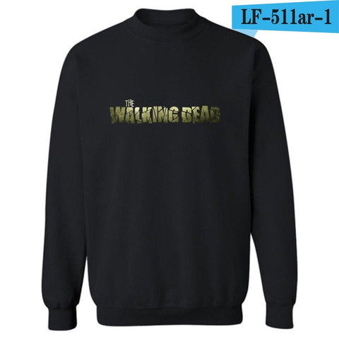The Walking Dead Zombies Punk Sweatshirt Men Black in Winter Autumn Mens Hoodies and Sweatshirts Brand Tracksuit White 4XL