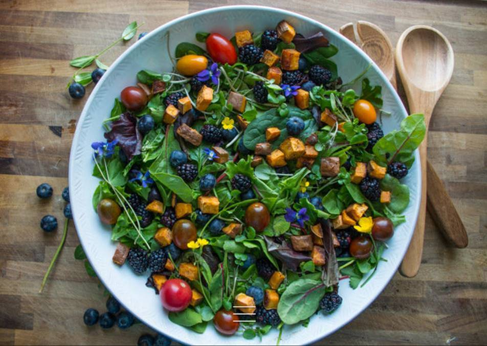 Seasonal Vegetable Salad with Beet Orange Basil Dressing