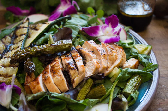Beet Orange Basil Vinaigrette with Roasted Asparagus & Chicken