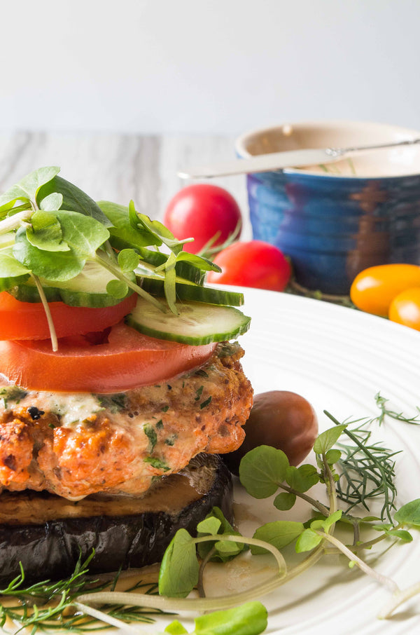 Whole30 Blackened Salmon Burgers with Tomato Gazpacho Spread
