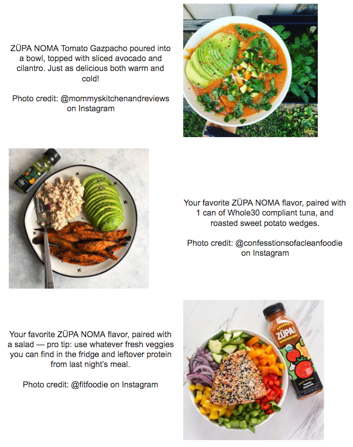 Lunch Whole30 mini-meal pairings