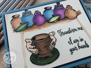 Colouring & Stamps - The Potter stamp set from Joy Clair - Bible Journaling
