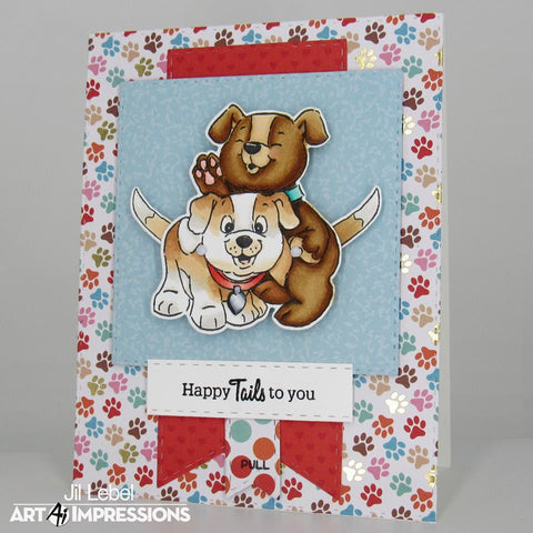 Art Impressions - Puppies Flutter Stamp and Die
