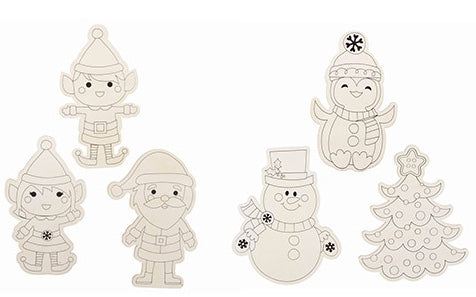 Darice® - Christmas Wood Color-Ins: 6 Assorted Styles