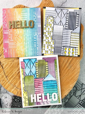 Hero Arts - Abstract Skyline Bold Prints Stamp