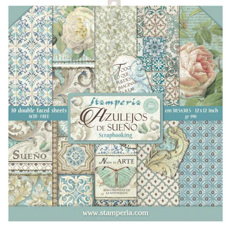"""Stamperia - Block 10 sheets 30.5x30.5 (12""""x12"""") Double Face Azulejos"""