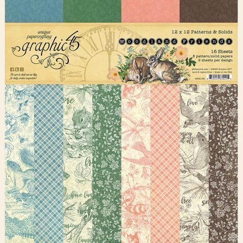 Graphic 45 - Woodland Friends 12x12 Patterns & Solids Pad