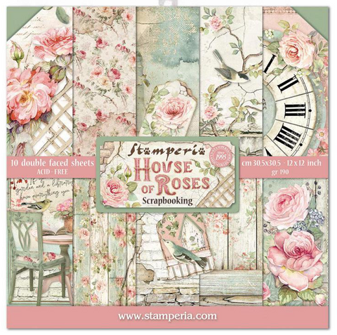 """Stamperia - Block 10 Papers 30.5x30.5 (12""""x12"""") Double Face House of Roses"""