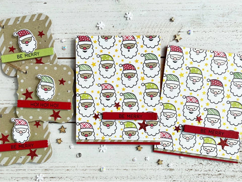 Taylored Expressions - St. Nick Background Cling & Clear Stamps Combo