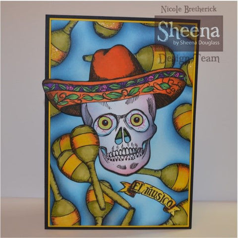 Crafters Companion - Sheena Douglass Perfect Partners Day of the Dead Stamp- Sombrero