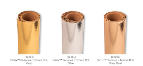 "Sizzix Accessory - Texture Roll 12"" x 48"" (Gold, Silver and rose Gold)"