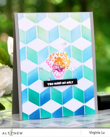 Altenew Cube Builder Stencil with Frayed Leaf & Forest Glades Ink Sprays