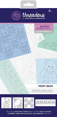 Crafters Companion - Threaders - Quilting Stencils - Teddy Bear