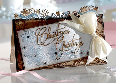 Crafters Companion Signature Collection by Sara Davies - Festive Wonder Embossing Folder - Snowy Corner