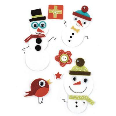 Basic Grey - Marjolaine Woolies - Felt Stickers - Christmas