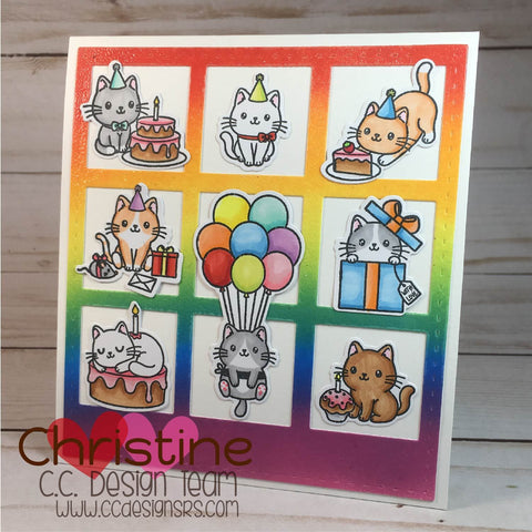 C.C. Designs - Happy Cat Day Clear Stamp and Outline Metal Die