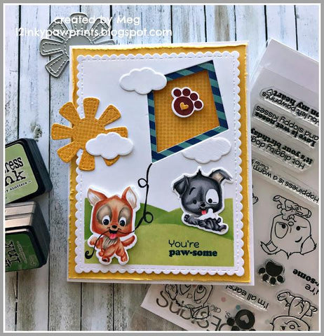 C.C. Designs - Puppy Power Clear Stamp and Outline Metal Die