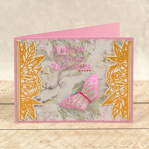 Couture Creations - Peaceful Peonies - Mini Stamp - Spotted Butterfly