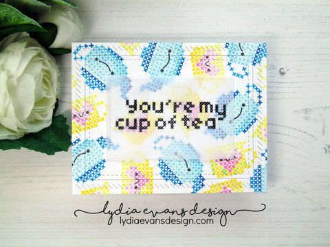 Waffle Flower - Stitched Tea Cup Stamp