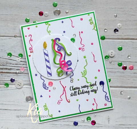 Frantic Stamper - 6x6 Background Rubber Stamp - Party Confetti