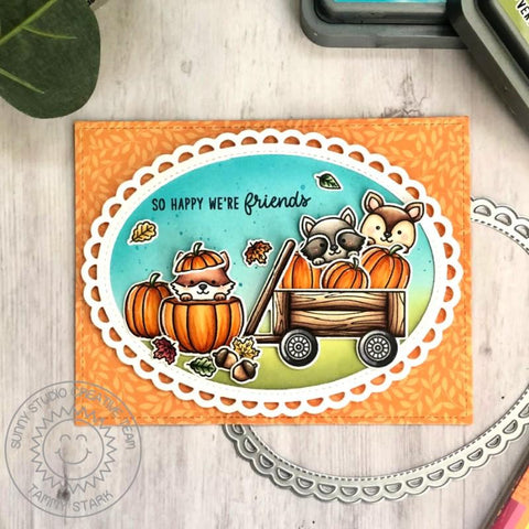 Sunny Studio Stamps -  Scalloped Oval Mat 3 Die