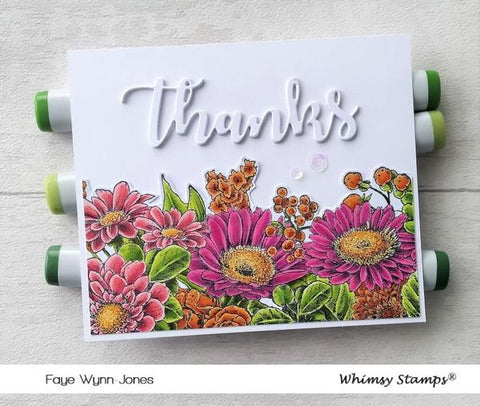Whimsy Stamps - Gerbera Daisies Background Rubber Cling Stamp