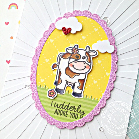 Miss Moo Cards with Mona and Franci Hi crafty friends! It's Mona here and today I am going to show you a cute spring card with the gorgeous Miss Moo Stamp Set!  Sunny Studio Stamps: Miss Moo Frilly Frames Loopy Letters Thank You Card by Mona Toth  I started the card making with die-cutting so I made a background die-cut with the Frilly Frames Polka Dot Die. I backed it with beautiful yellow plaid paper from the Gingham Pastels 6x6 Cardstock. When it was done, I made my pink background. I dry embossed it with the amazing Quilted Hearts Embossing Folder. This texture is absolutely awesome! I prepared a little scene, so I made grass with the border from the Comic Strip Everyday Dies.   Sunny Studio Stamps: Miss Moo Frilly Frames Loopy Letters Thank You Card by Mona Toth  Next I stamped the images from the Miss Moo Stamp Set and cute tulips from Spring Greetings stamp set and I colored them with Copic Markers. After the coloring I used the coordinating dies to cut the images and added highlights with Signo Uniball white pen.  (Used Copic Markers: 0, Y11, Y15, Y19, E0000, E000, E31, E35, E42, E53, YG01, YG03, YG93, R20, R32 RV32, W7, W5, N9,)   Sunny Studio Stamps: Miss Moo Frilly Frames Loopy Letters Thank You Card by Mona Toth  I decided to make the sentiment with Die-cutting so I used the Loopy Letters Dies for it.   Sunny Studio Stamps: Miss Moo Frilly Frames Loopy Letters Thank You Card by Mona Toth  In the end I styled my card and adhered everything together. Thank you very much for reading through my post, I hope that you have enjoyed it and I have inspired you! If you like my creations let's be friends on Instagram. :)  --------------------------------------------------------------  Hello there! Franci here with you showcasing the new Miss Moo stamp set!   Sunny Studio Stamps: Miss Moo Stitched Ovals Fancy Frames Punny Card by Franci Vignoli  First I created my card base and cut out a coordinated panel all out of white cardstock. I embossed my panel with the new Sunburst embossing folder and then I die cut all the other elements of my cards using these die sets: Fancy Frames Oval, Stitched Ovals and the Comic Strip Everyday dies.   Sunny Studio Stamps: Miss Moo Stitched Ovals Fancy Frames Punny Card by Franci Vignoli  And all the patterned papers are from the latest collection: the Flirty Flower pad and the Dots and Stripes one. I glued all the element together, I stamped my sentiment and I also stamped, colored and die cut my little critter. It's so cute and adorable!!   I added some sequins and some details with a white gel pen and the card is done, super simple and in bright colors to make the recipient happy!  Have a lovely day!  Sunny Studio Supplies Used:  Fancy Frames- Ovals Fancy Frames- Ovals Shop at: Sunny Studio	Comic Strip Everyday Dies Comic Strip Everyday Dies Shop at: Sunny Studio	Loopy Letters Dies Loopy Letters Dies Shop at: Sunny Studio	Stitched Oval Dies Stitched Oval Dies Shop at: Sunny Studio	Gingham Pastels 6x6 Paper Gingham Pastels 6x6 Paper Shop at: Sunny Studio Flirty Flowers 6x6 Paper Flirty Flowers 6x6 Paper Shop at: Sunny Studio	Dots & Stripes Pastels 6x6 Paper Dots & Stripes Pastels 6x6 Paper Shop at: Sunny Studio	Quilted Hearts Embossing Quilted Hearts Embossing Shop at: Sunny Studio	Miss Moo Stamps Miss Moo Stamps Shop at: Sunny Studio Miss Moo Dies Miss Moo Dies Shop at: Sunny Studio	Frilly Frames Polka-Dot Frilly Frames Polka-Dot Shop at: Sunny Studio	Everyday Greetings Stamps Everyday Greetings Stamps Shop at: Sunny Studio Sunburst Embossing  Sunburst Embossing  Shop at: Sunny Studio