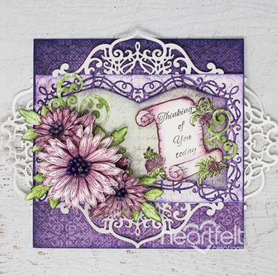Heartfelt Creations - Wild Aster Collection - Wild Aster Scroll & Cluster Cling Stamp and Die