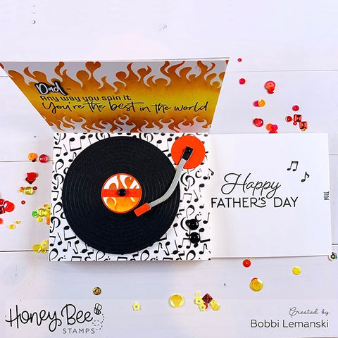 Honey Bee Stamps - Record Player Card Base Die | Honey Cuts