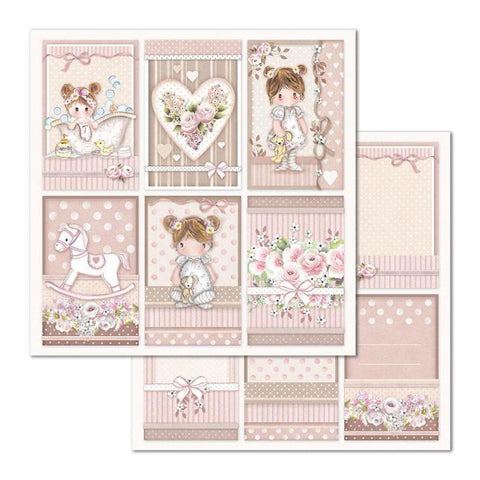 Stamperia - Double Face 12 x 12in Paper - Little Girl Frames