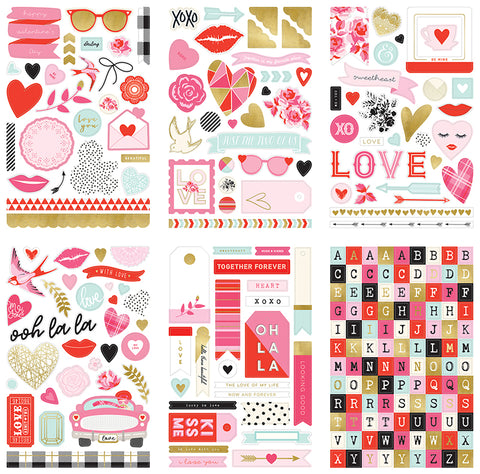 My Mind's Eye - With Love Collection - Cardstock Stickers With Foil Accents