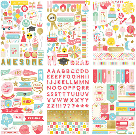 My Mind's Eye - Yay Collection - Cardstock Stickers With Foil Accents