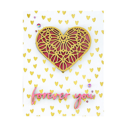Spellbinders - Scattered Hearts Background Glimmer Hot Foil Plate from Expressions of Love Collection