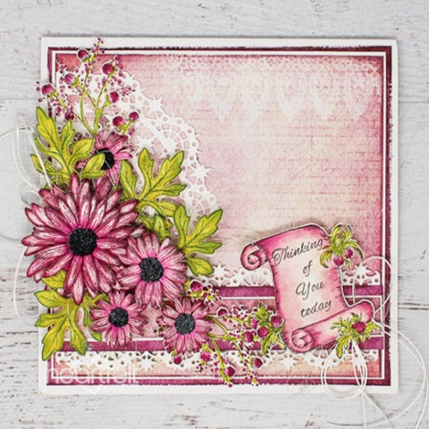Heartfelt Creations - Wild Aster Collection - Wild Aster Scroll & Cluster Cling Stamp Set