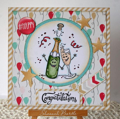 Whimsy Stamps - Champagne Celebration Rubber Cling Stamp