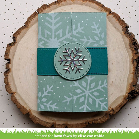 This add-on creates a cute snow globe that is the perfect size for your Shutter Card! It also includes a large decorative snowflake that is a great fit for the Shutter Card belly band.