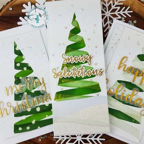 Trinity Stamps - Ribbon Wrapped Tree - Layering Stencil