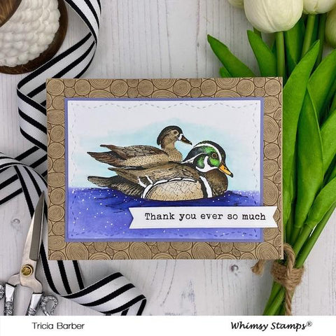Whimsy Stamps - Woodland Ducks Rubber Cling Stamp