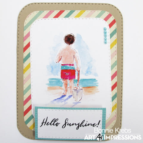 Art Impressions - Beach Boys Watercolour Cling Rubber Stamp Set