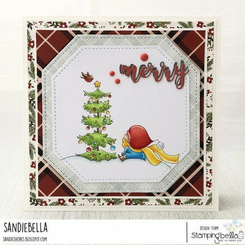Stampingbella - Cling Stamps - Bundle Girl W/Christmas Tree And Birdie