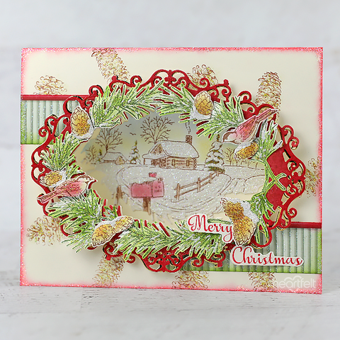 Heartfelt Creations - Snowy Pines Cabin Cling Stamp Set
