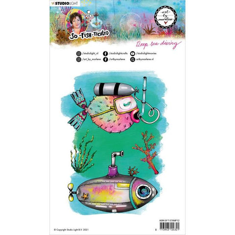 Studio Light - Art By Marlene So-Fish-Ticated Collection - Cling Stamp - Deep Sea Diving