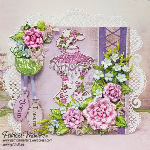 Heartfelt Creations Floral Fashionista Cling Stamp and Die Set