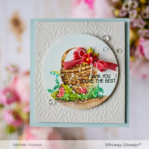 Whimsy Stamps - Basket Rubber Cling Stamp