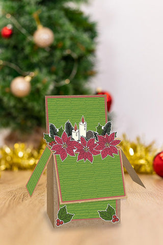 Crafter's Companion - Gemini Pop Up Box Stamp & Die - Poinsettia Delights