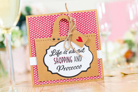 Crafter's Companion - Clear Acrylic Stamps - Shopping and Prosecco
